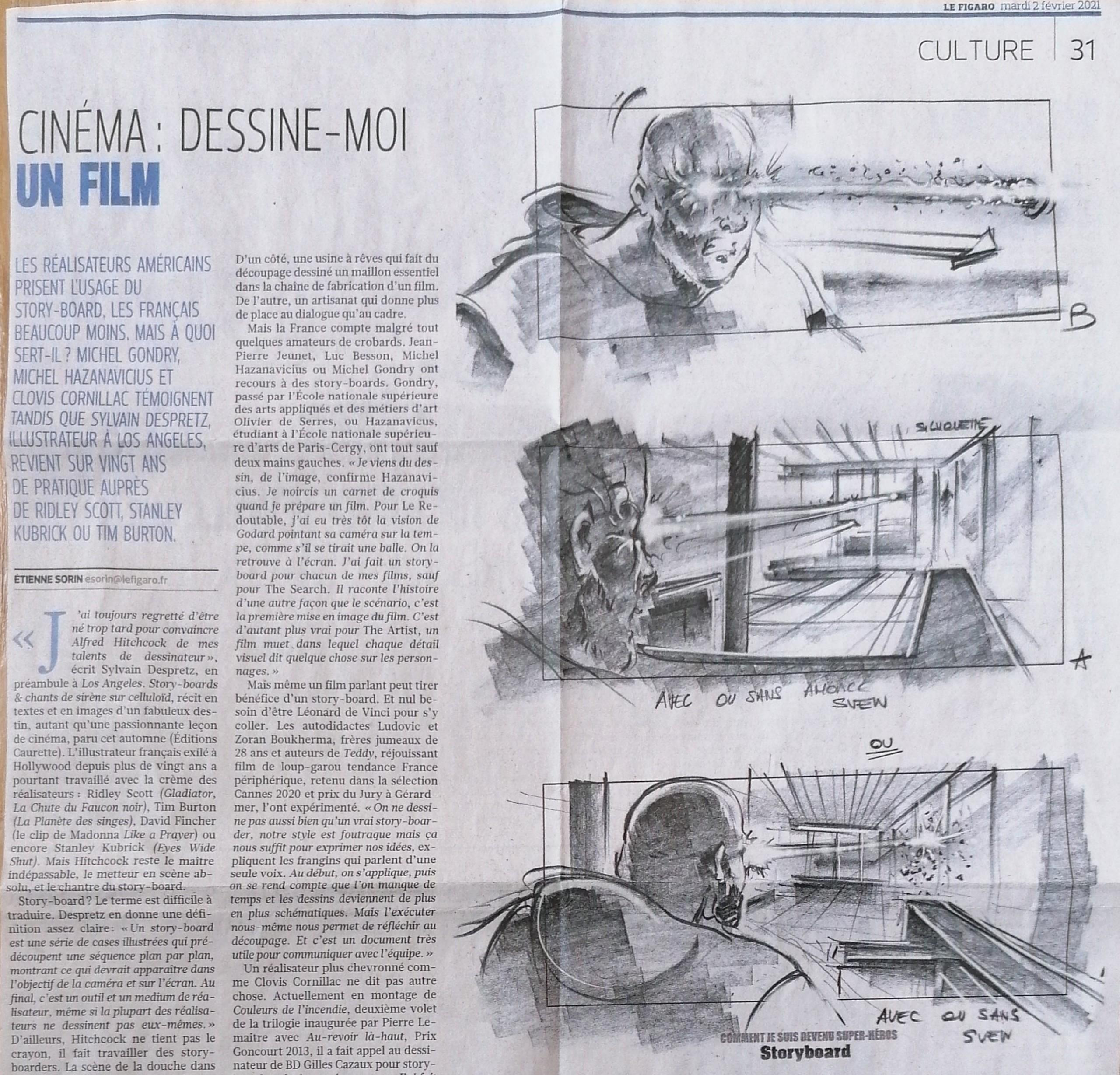 """Article de journal """"Cinéma : Dessine-moi un film"""" du Figaro sur Sylvain Despretz."""